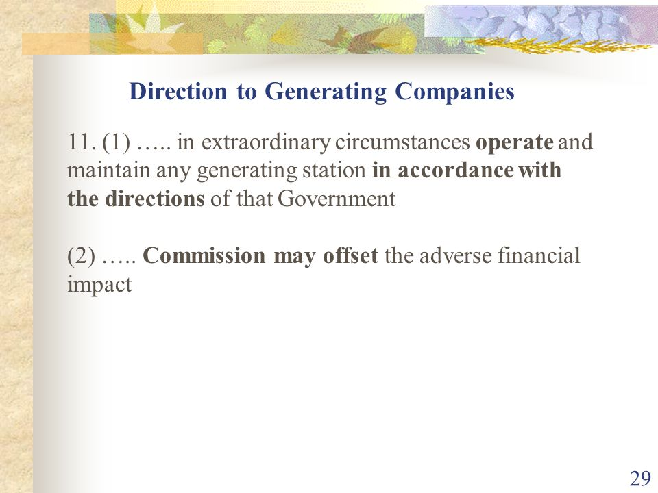 Direction to Generating Companies
