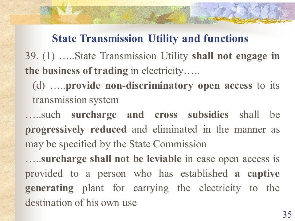 State Transmission Utility and functions