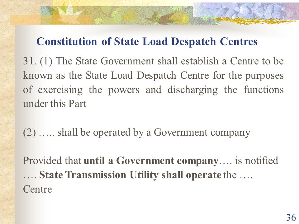 Constitution of State Load Despatch Centres