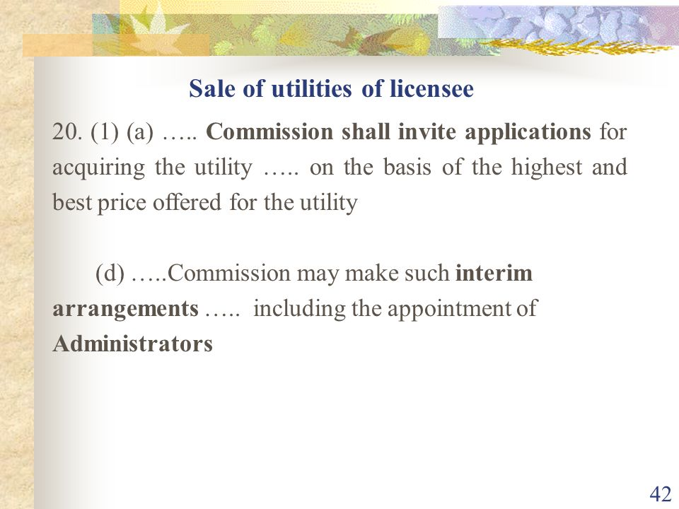 Sale of utilities of licensee