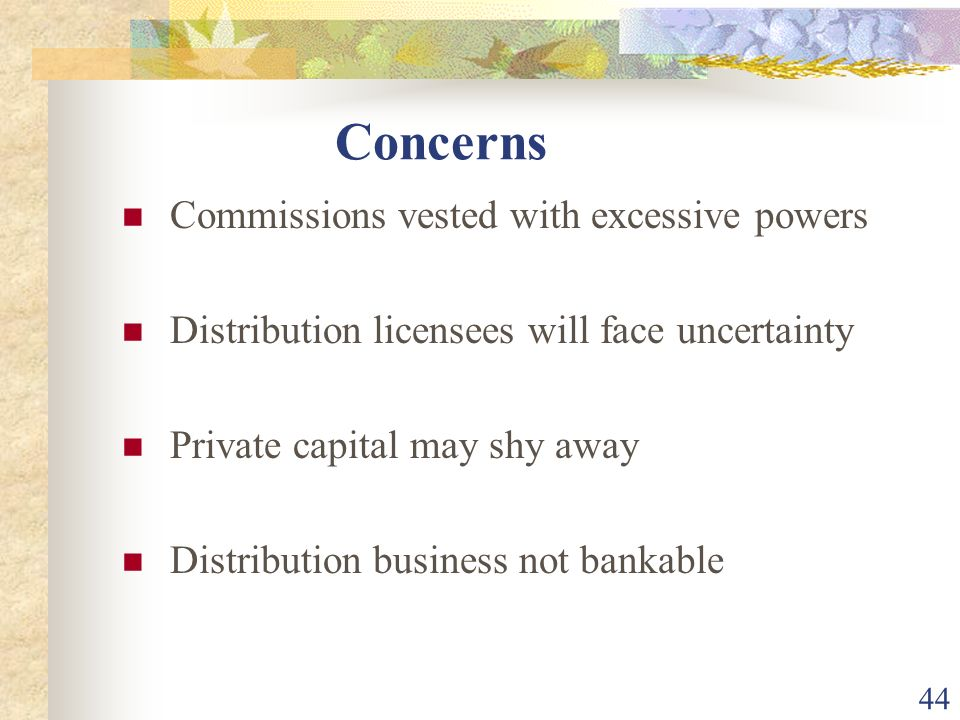 Concerns Commissions vested with excessive powers