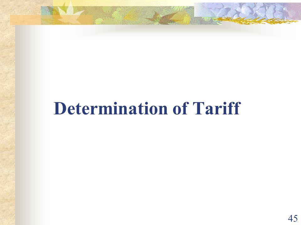 Determination of Tariff