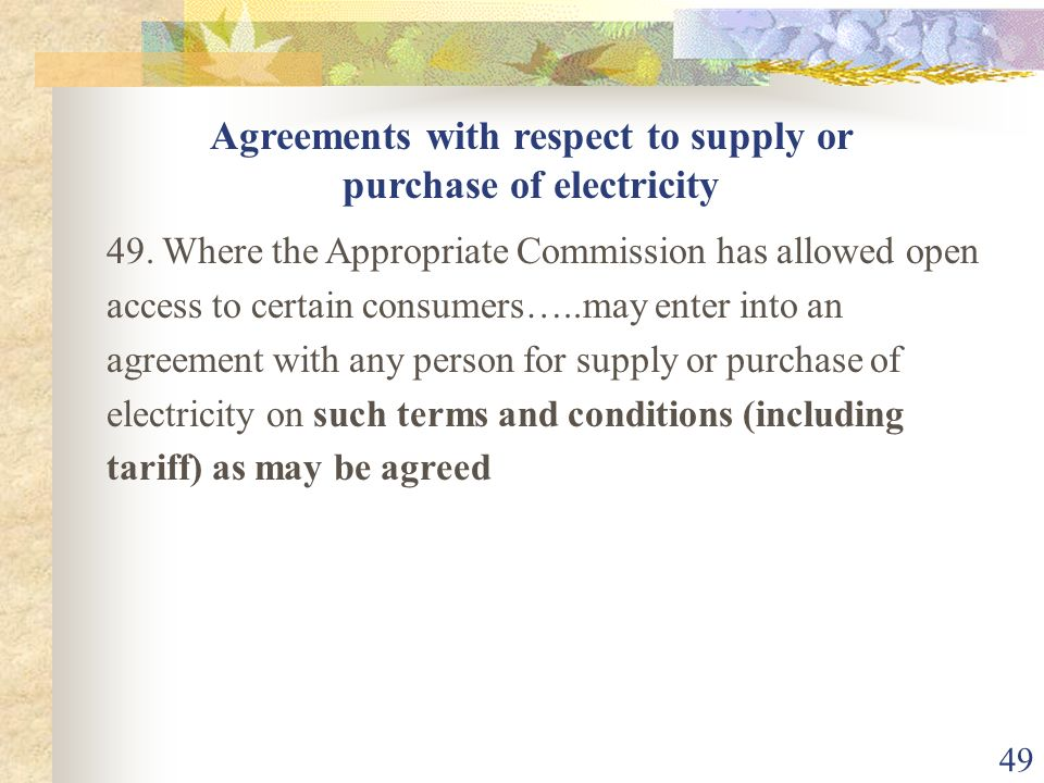 Agreements with respect to supply or purchase of electricity