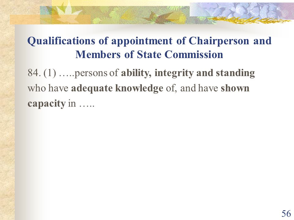 Qualifications of appointment of Chairperson and Members of State Commission