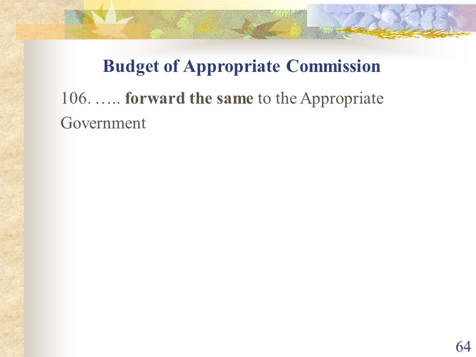 Budget of Appropriate Commission