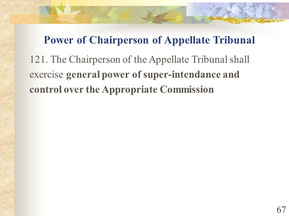 Power of Chairperson of Appellate Tribunal