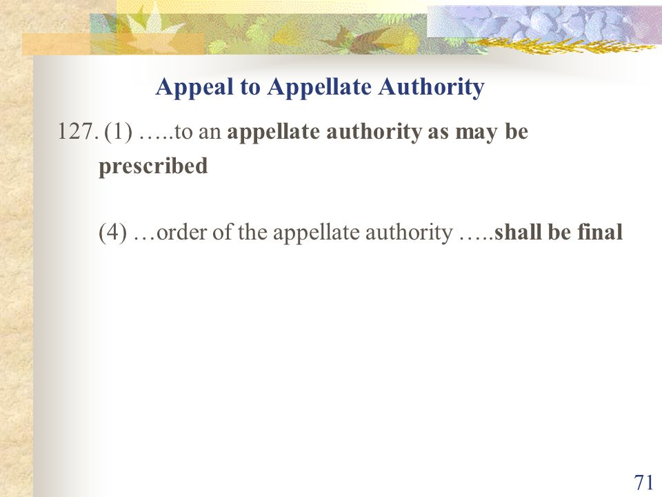 Appeal to Appellate Authority