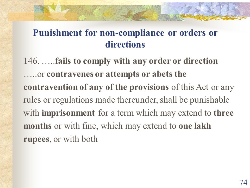 Punishment for non-compliance or orders or directions