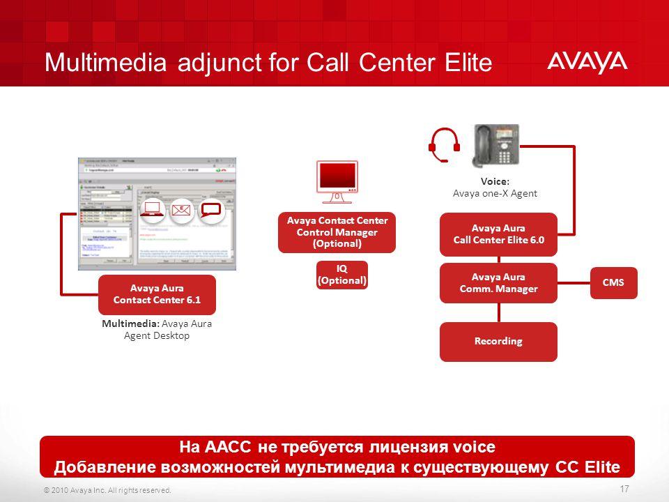 Multimedia adjunct for Call Center Elite