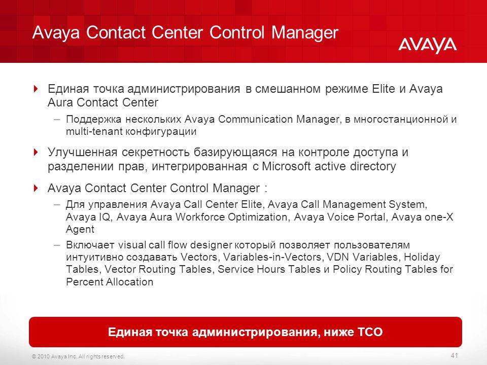 Avaya Contact Center Control Manager