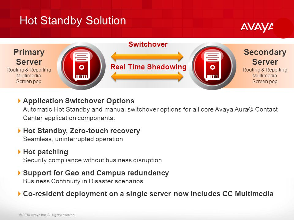 Hot Standby Solution Primary Server Secondary Server Switchover
