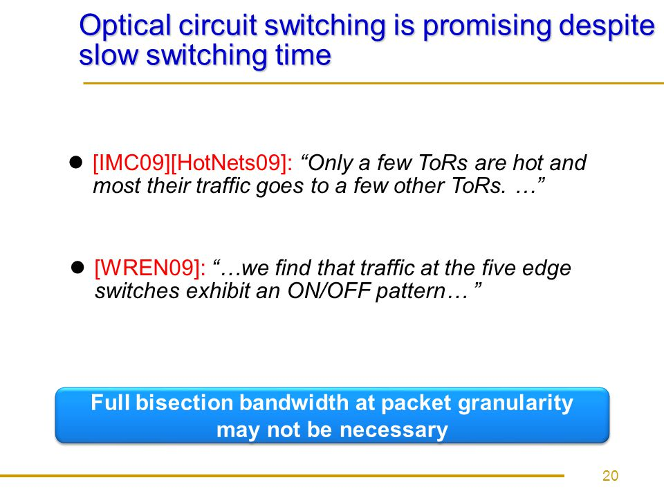 Optical circuit switching is promising despite slow switching time