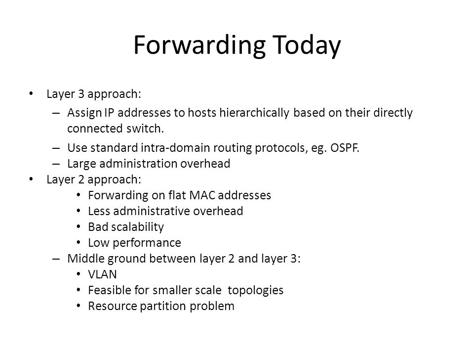 Forwarding Today Layer 3 approach: