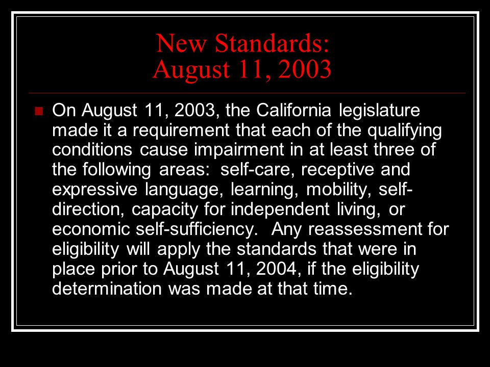 New Standards: August 11, 2003