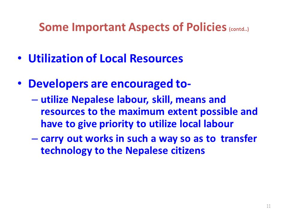 Some Important Aspects of Policies (contd..)