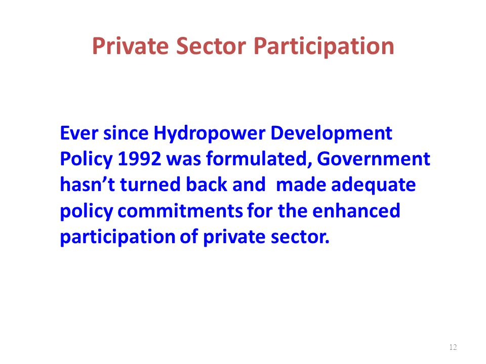 Private Sector Participation
