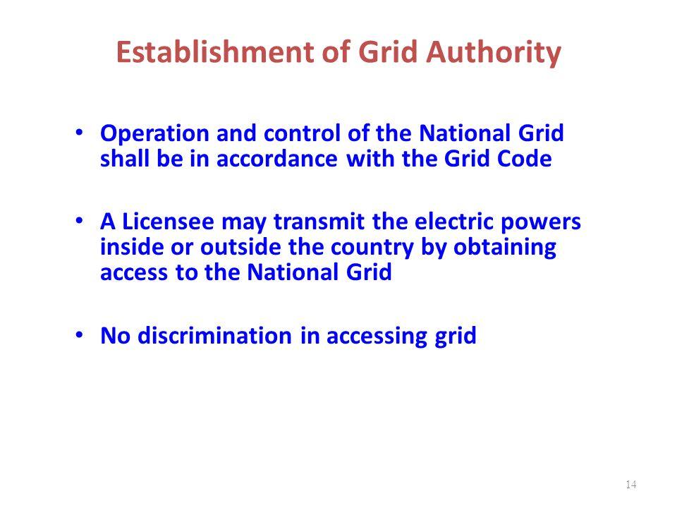 Establishment of Grid Authority