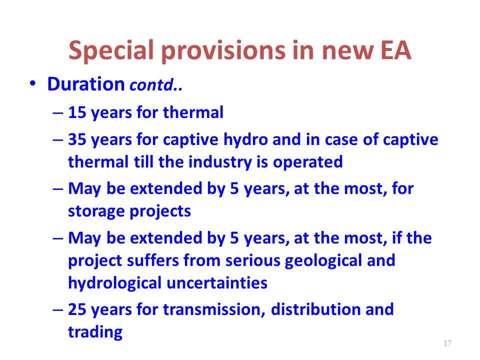 Special provisions in new EA