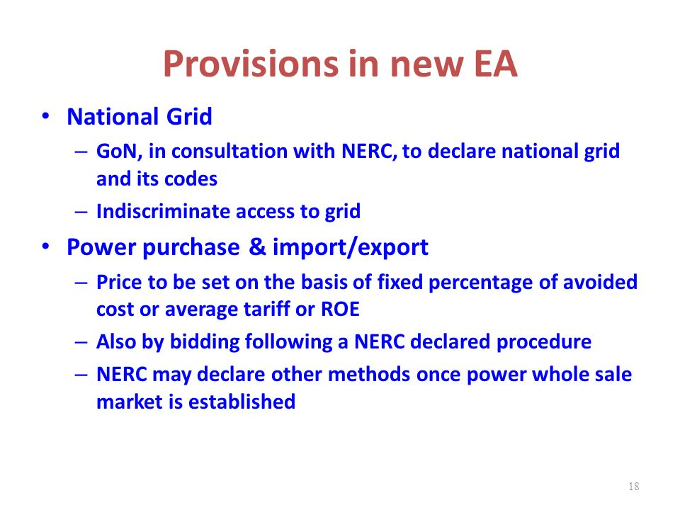 Provisions in new EA National Grid Power purchase & import/export