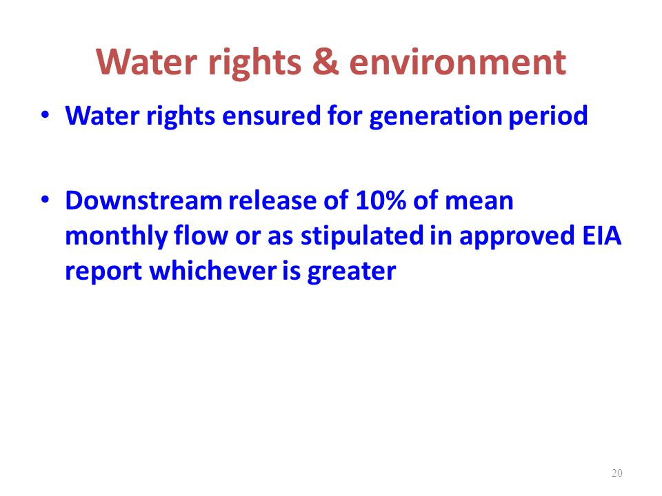 Water rights & environment