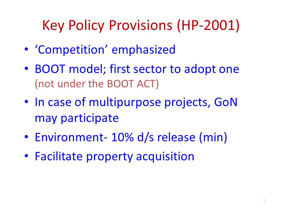 Key Policy Provisions (HP-2001)