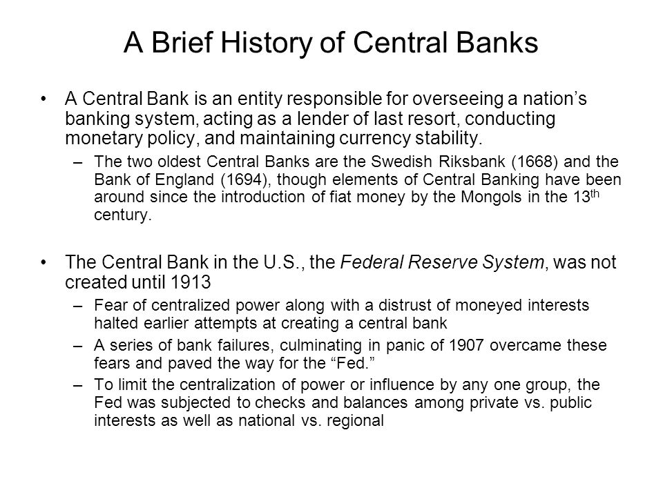 A Brief History of Central Banks