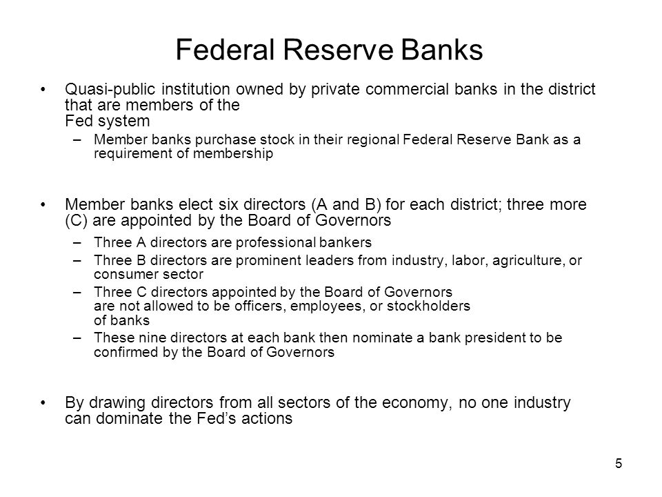 Federal Reserve Banks Quasi-public institution owned by private commercial banks in the district that are members of the Fed system.
