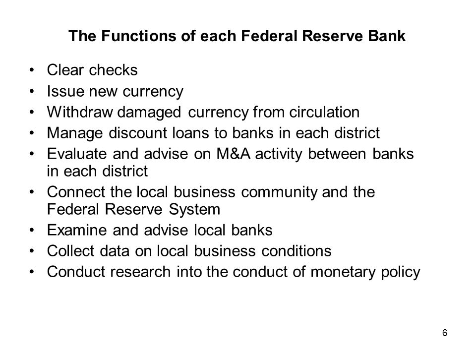 The Functions of each Federal Reserve Bank