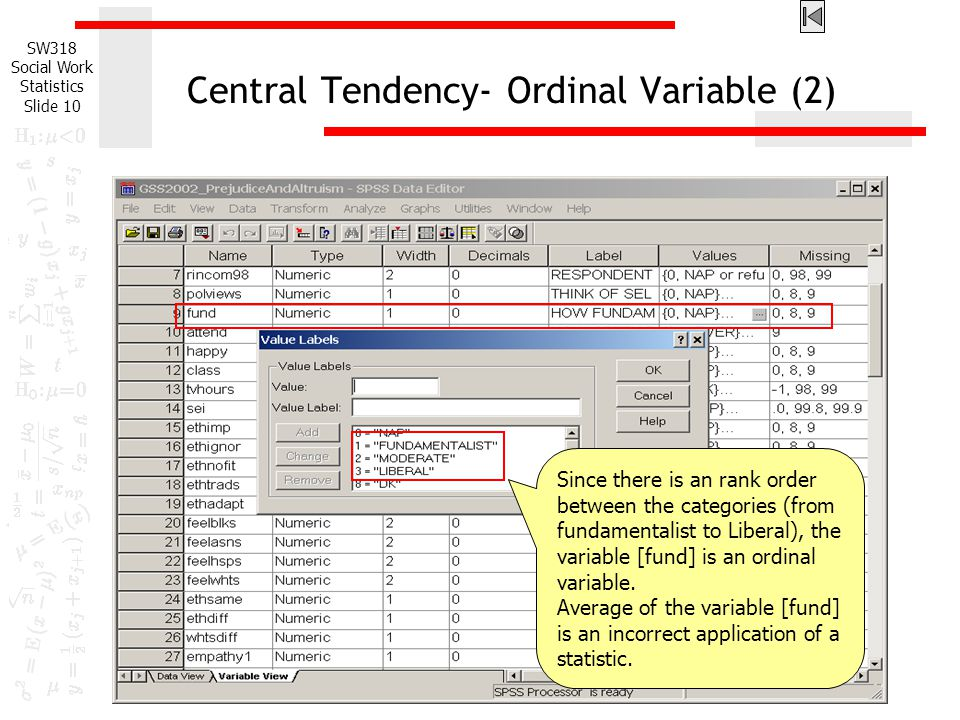 Central Tendency- Ordinal Variable (2)