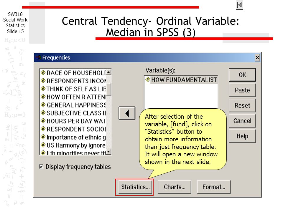 Central Tendency- Ordinal Variable: Median in SPSS (3)