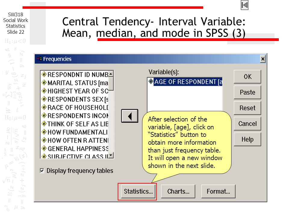 Central Tendency- Interval Variable: Mean, median, and mode in SPSS (3)