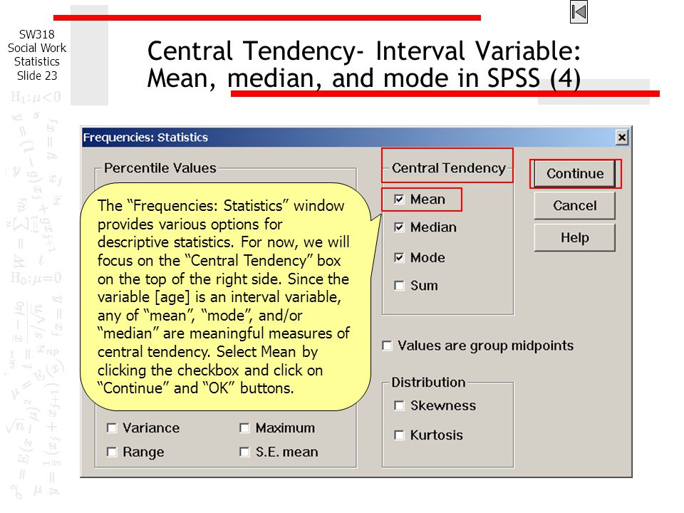 Central Tendency- Interval Variable: Mean, median, and mode in SPSS (4)