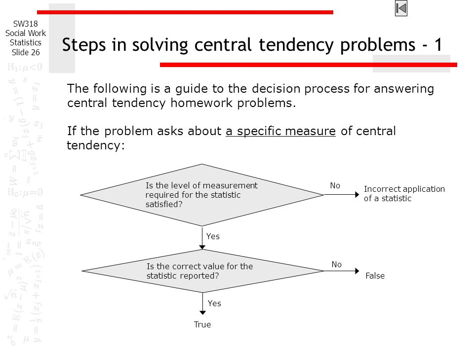 Steps in solving central tendency problems - 1