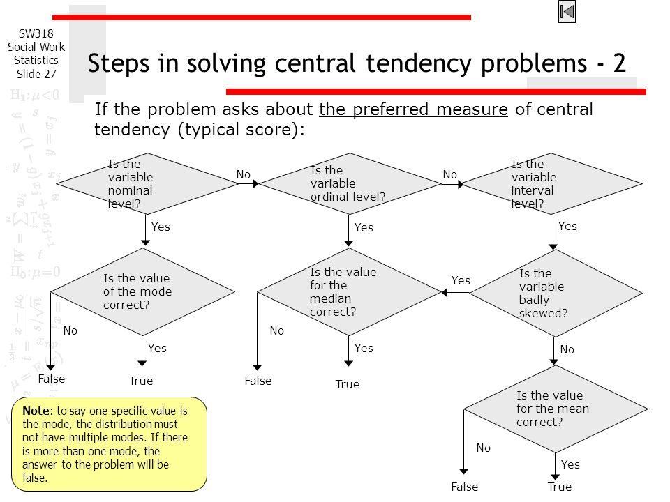 Steps in solving central tendency problems - 2