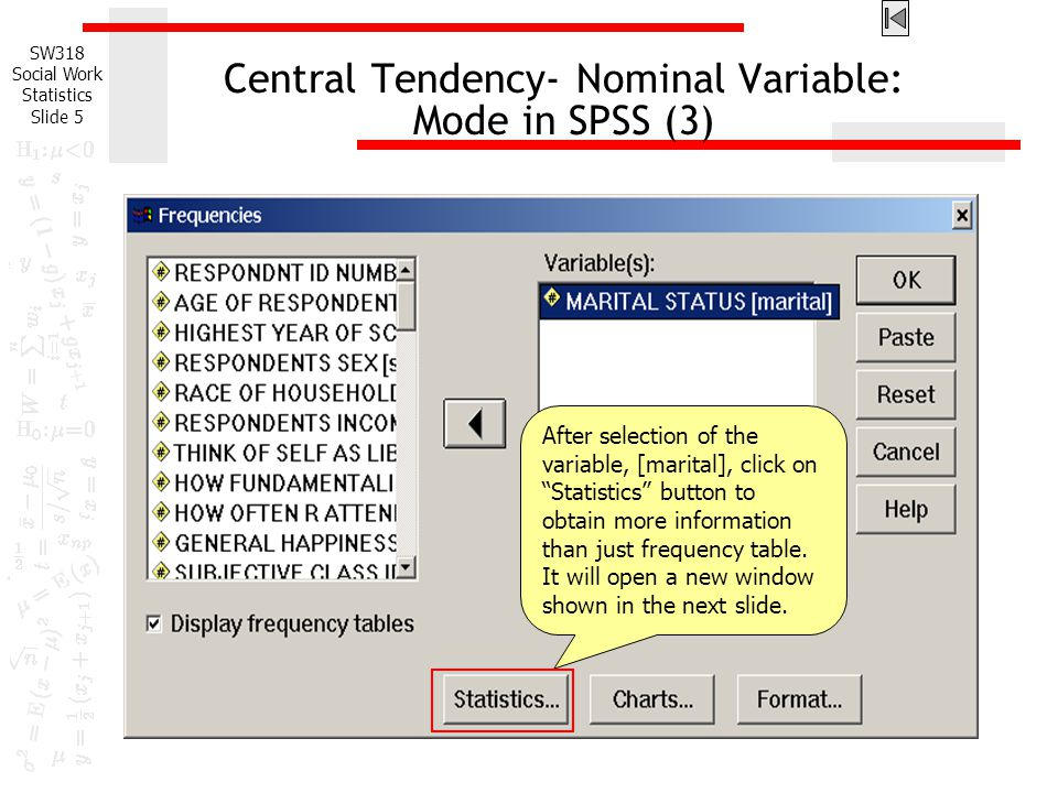 Central Tendency- Nominal Variable: Mode in SPSS (3)