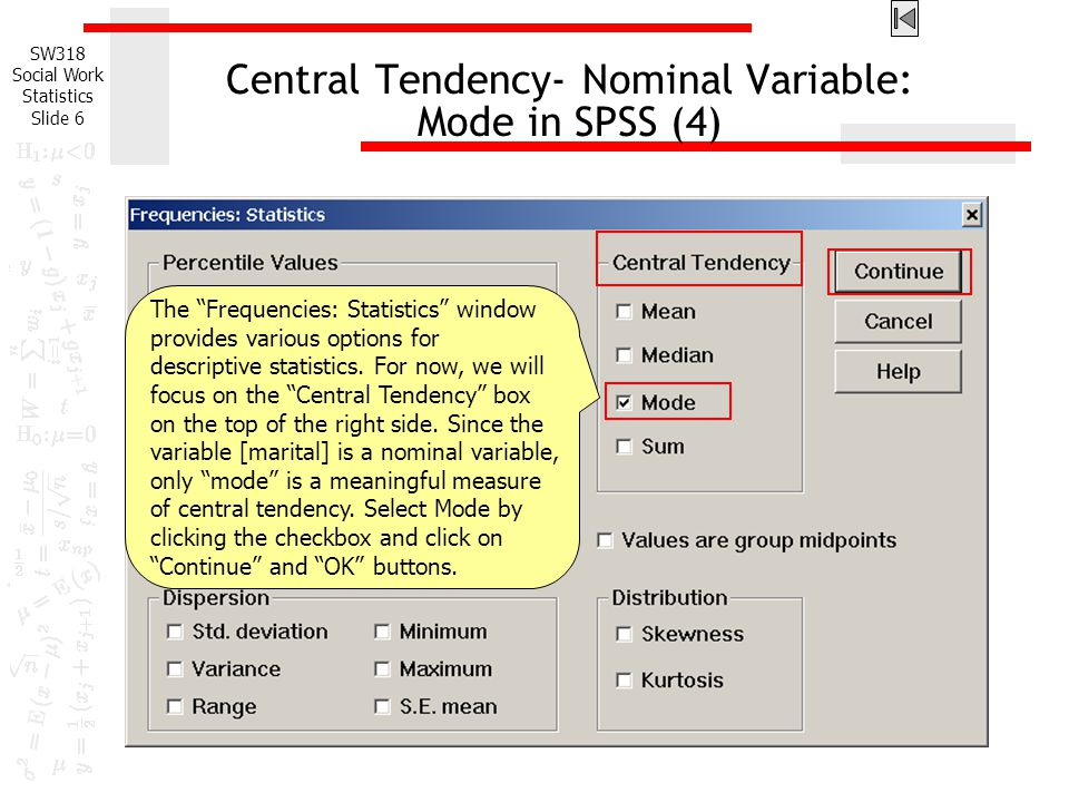 Central Tendency- Nominal Variable: Mode in SPSS (4)