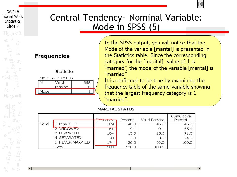 Central Tendency- Nominal Variable: Mode in SPSS (5)