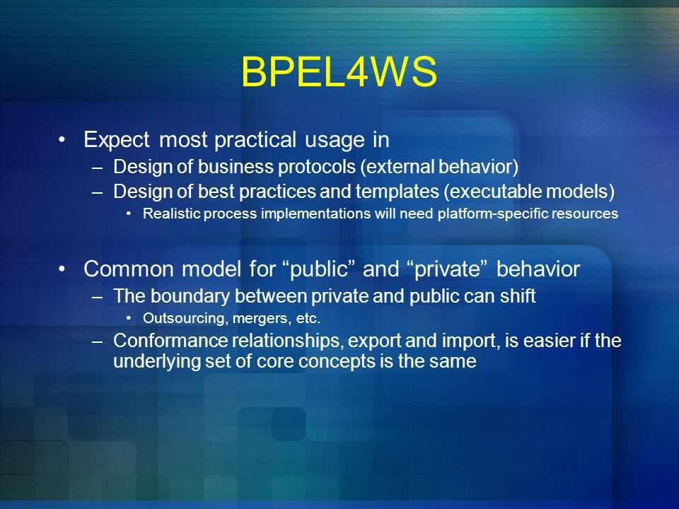 BPEL4WS Expect most practical usage in