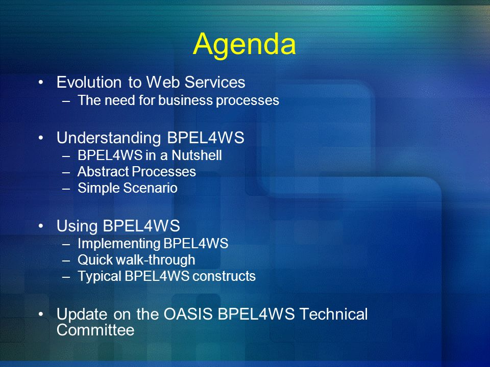 Agenda Evolution to Web Services Understanding BPEL4WS Using BPEL4WS