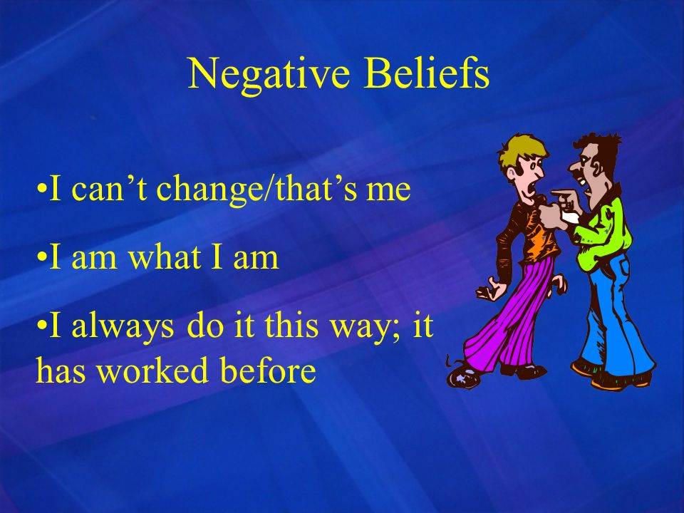 Negative Beliefs I can't change/that's me I am what I am