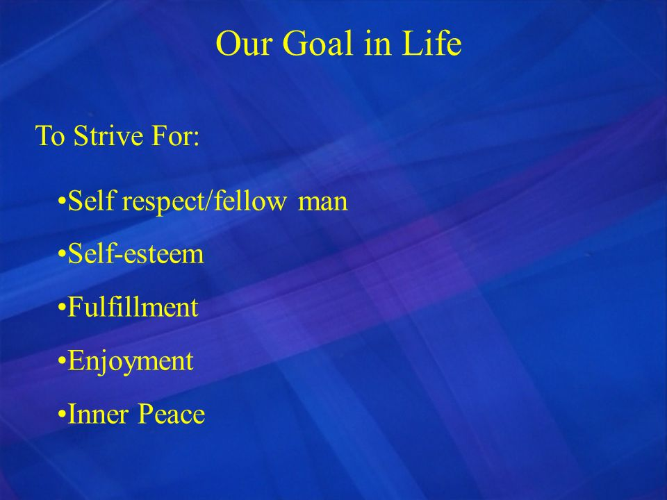 Our Goal in Life To Strive For: Self respect/fellow man Self-esteem