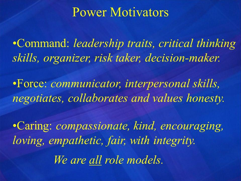 Power Motivators Command: leadership traits, critical thinking skills, organizer, risk taker, decision-maker.