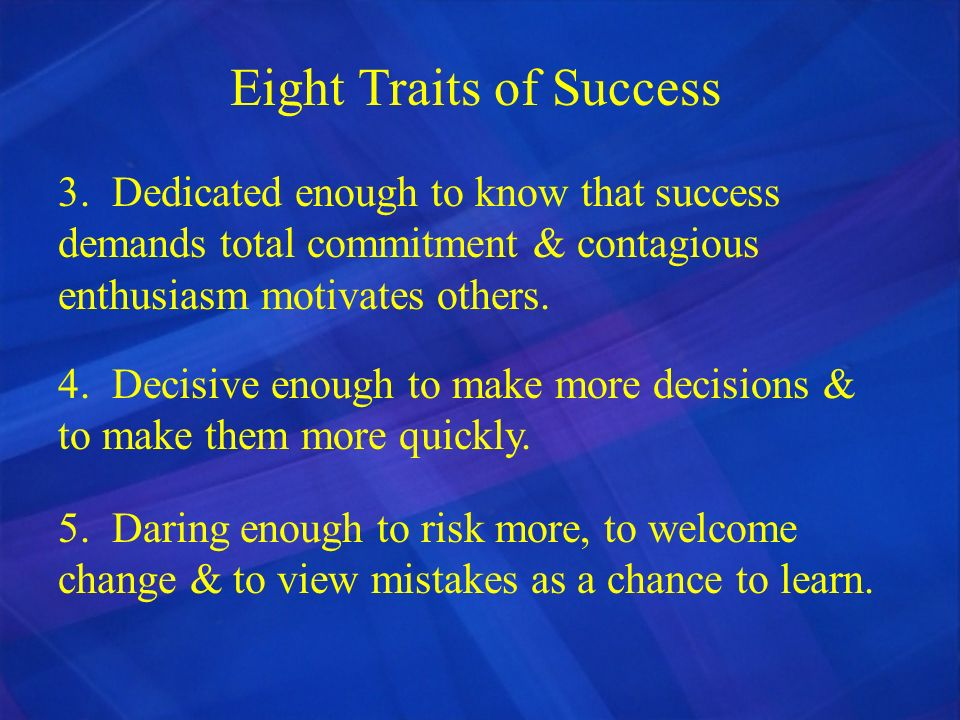 Eight Traits of Success