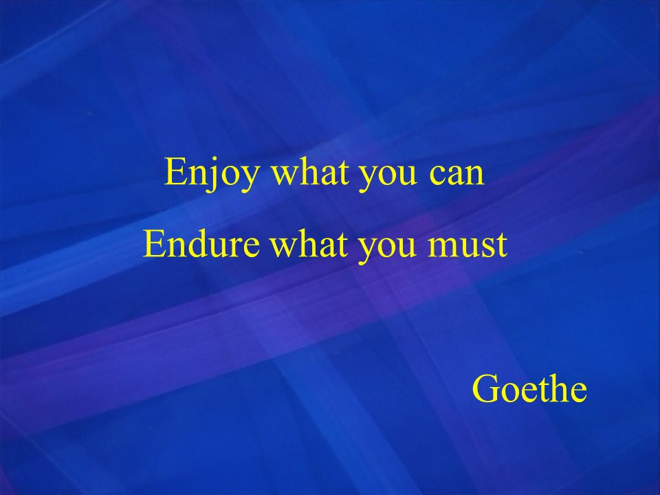 Enjoy what you can Endure what you must Goethe