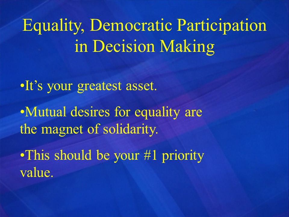 Equality, Democratic Participation in Decision Making