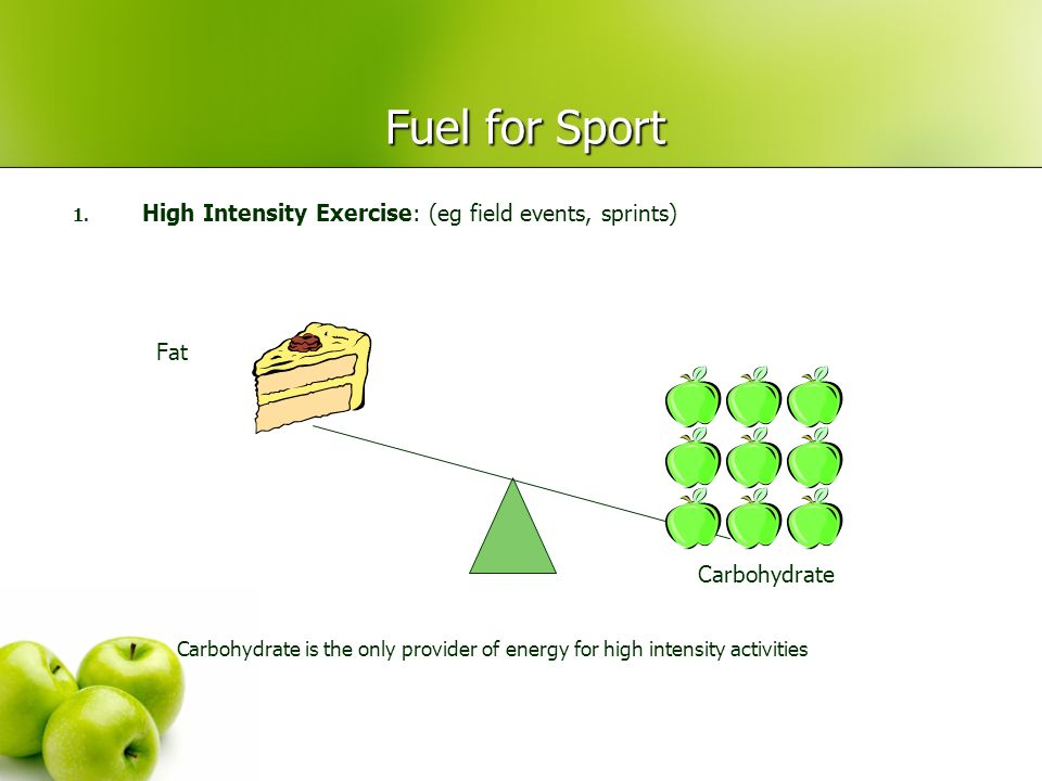 Fuel for Sport High Intensity Exercise: (eg field events, sprints) Fat