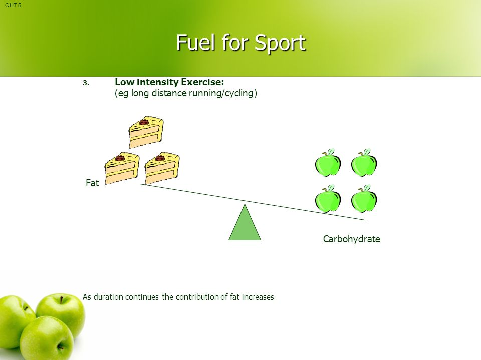 Fuel for Sport Low intensity Exercise: