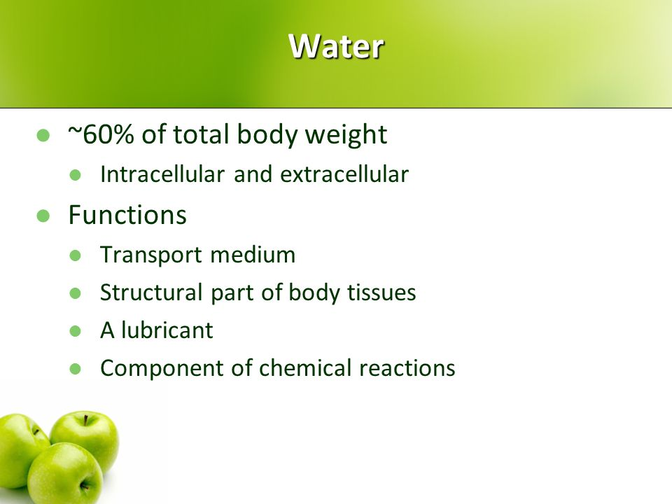 Water ~60% of total body weight Functions