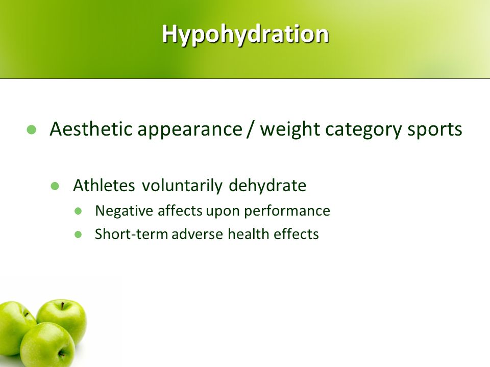 Hypohydration Aesthetic appearance / weight category sports