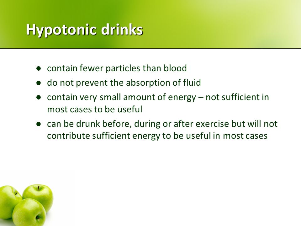 Hypotonic drinks contain fewer particles than blood